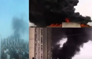 石家莊再發生火災 萬達附近一小區頂樓起火