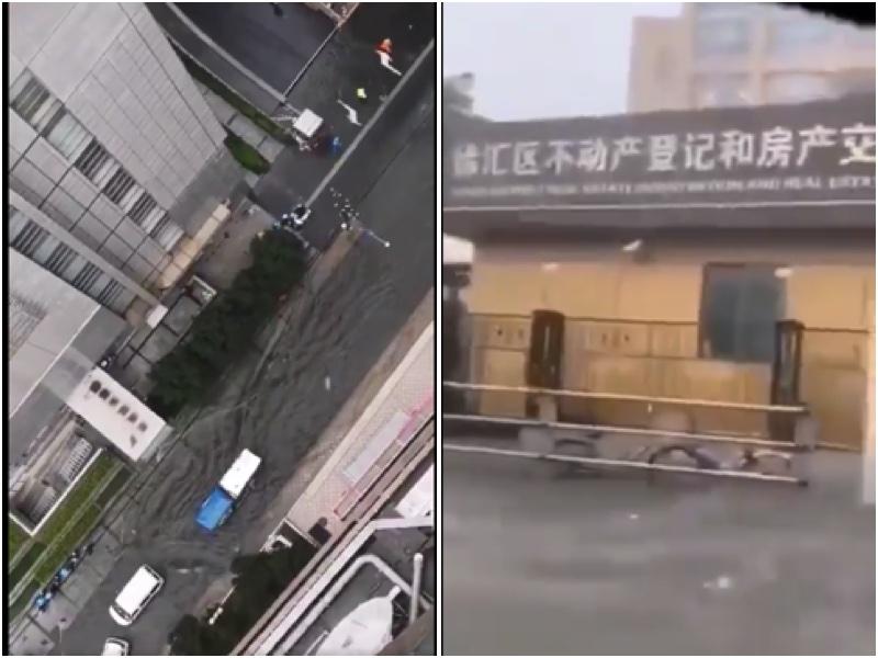 2020年7月6日上海遭到暴雨襲擊 ,浦東新區、徐家匯、虹口區等地淹大水。(影片截圖合成)