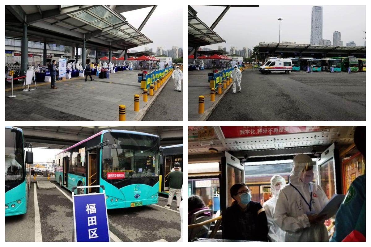 圖為2020年3月20日,在深圳灣口岸海關,國保人員登記香港返回大陸的境外人士,集中檢測、隔離。(受訪者提供)