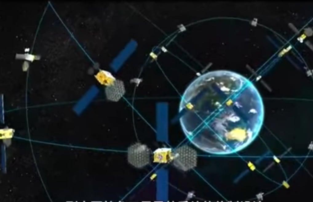 北斗三號衛星導航系統組網示意圖。(影片截圖)