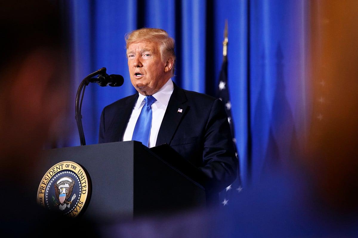 特朗普周六(6月29日)在與中國國家主席習近平會晤後,舉行新聞發佈會。 (Jacquelyn Martin/POOL/AFP)