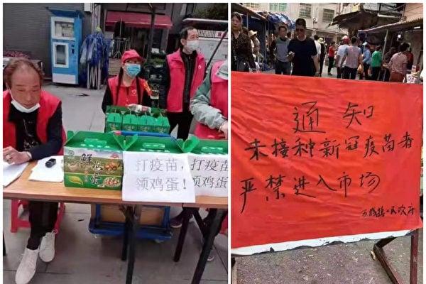 中國大陸各地出現強制民眾接種疫苗的現象。(微博圖合成)