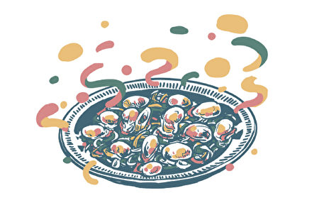 師傅將食材大火快炒後端上桌,看著醬汁巴在蛤礪上,湯汁收得剛剛好。(境好出版社堤供)