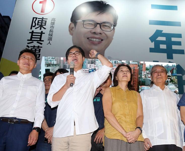 8月15日,高雄市長補選陳其邁以逾67萬票當選。(中央社)