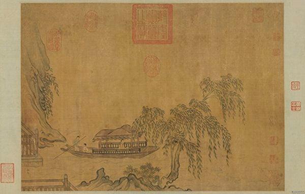 李約在任兵部員外郎時,一次乘船出行,途中遇到一位攜帶家眷的商人。圖為宋 馬和之《柳溪春舫圖》。(國立故宮博物院提供)