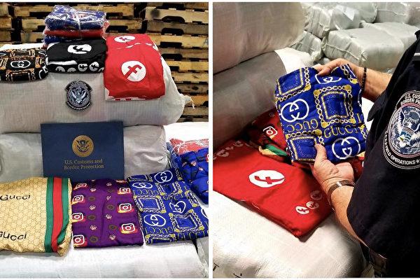 美國海關發現了夾藏在一般睡衣之間的盜版Gucci睡衣,部份還有Facebook和Instagram的商標。這些商品若流入市場,可能在非法網站或地下商店中出售。(CBP提供)