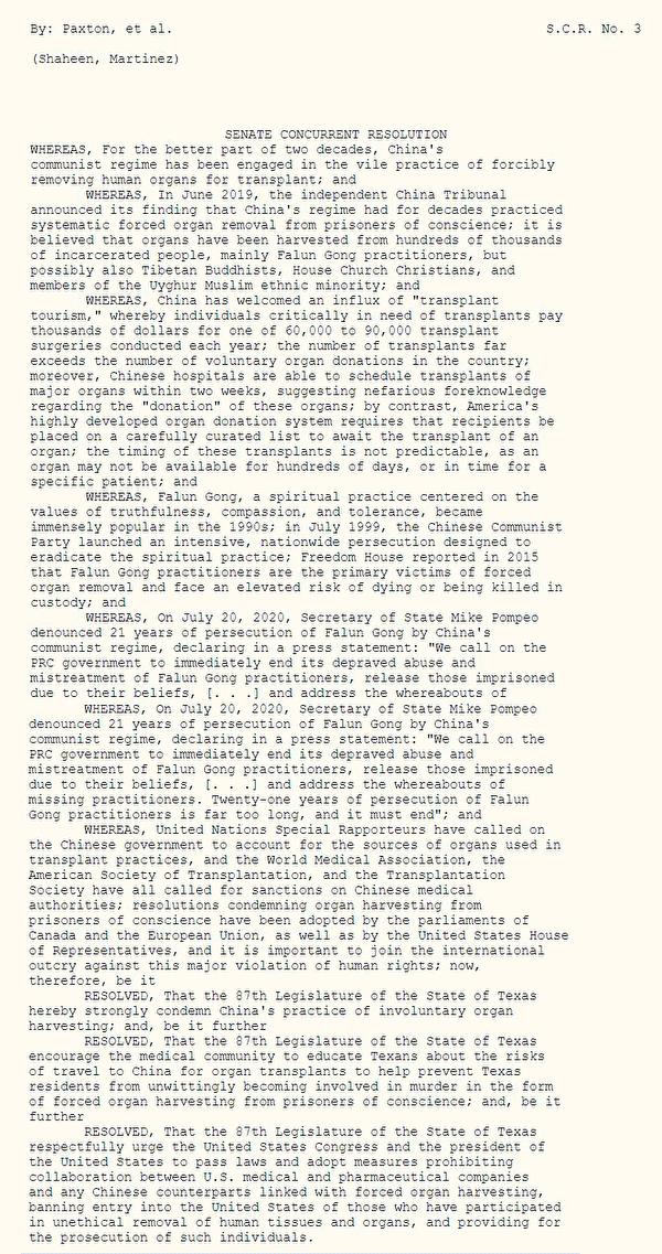 德州參議院決議案SCR3,譴責中共活摘器官。(明慧網)