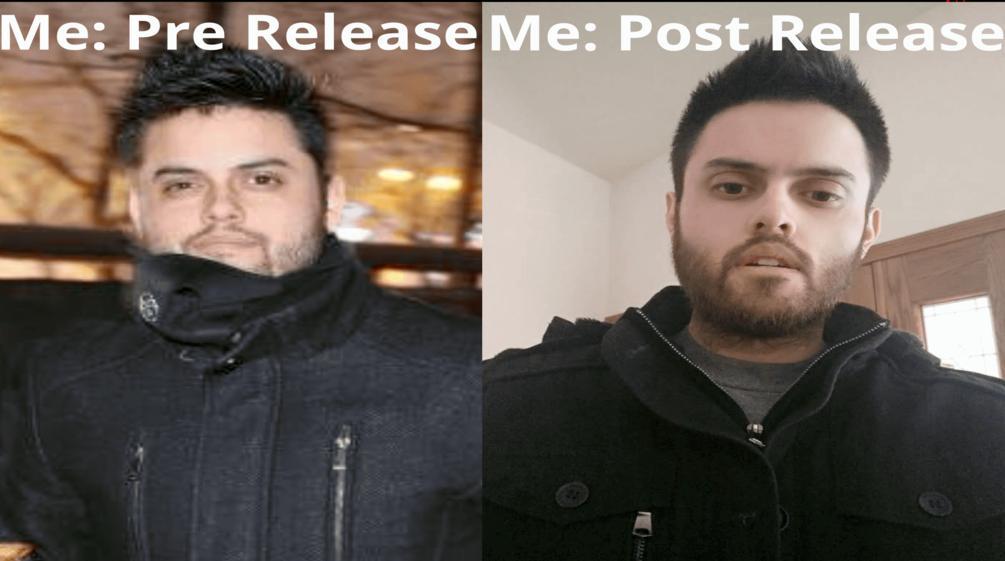 Steven Schaerer被拘留前後的對比照片。左邊為被拘捕前的照片,右邊為被釋放後的照片。(Steven Schaerer提供)