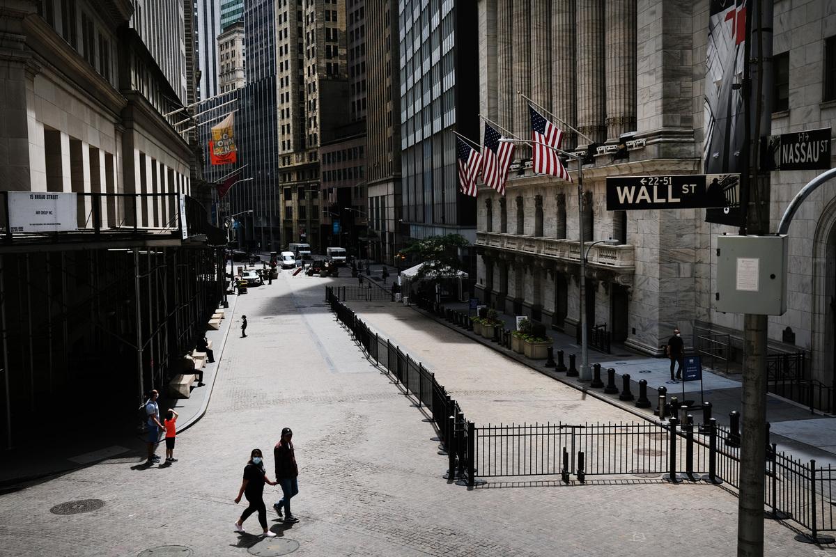 中共學者翟東昇自爆,中共如何通過在華爾街的老朋友影響美國政策。圖為2020年6月15日,紐約華爾街的紐約證券交易所(NYSE)。(Spencer Platt/Getty Images)