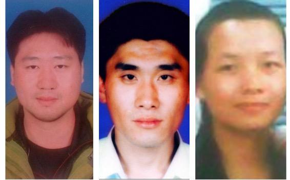 被中共迫害致瘋的法輪功學員:王健(已離世)、杜衛峰、賀碧剛。(大紀元合成圖)