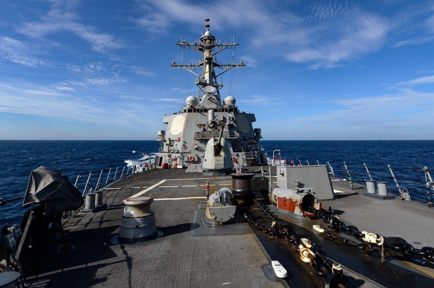2020年6月4日,美國海軍拉塞爾號(US Russell)阿利・伯克級驅逐艦穿越台灣海峽。(U.S. Navy photo by Mass Communication Specialist 3rd Class Sean Lynch/Released)