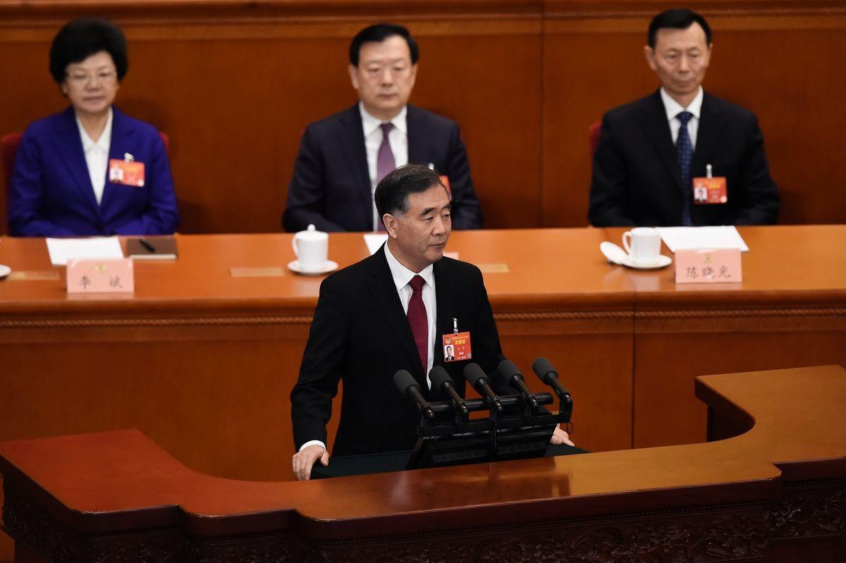 圖為中共全國政協3月3日開幕當天,政協主席汪洋做工作報告。(WANG ZHAO/AFP/Getty Images)