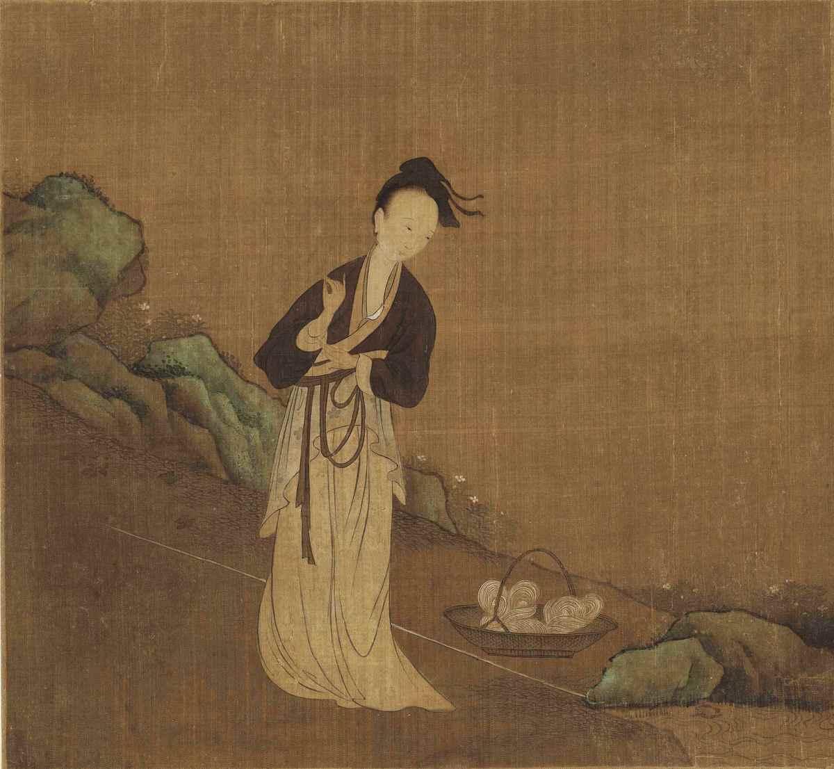 伍子胥千金報德史貞女,就是漢語中「千金小姐」一詞的來歷。示意圖:五代周文矩《西子浣紗圖》(局部),絹本。(公有領域)