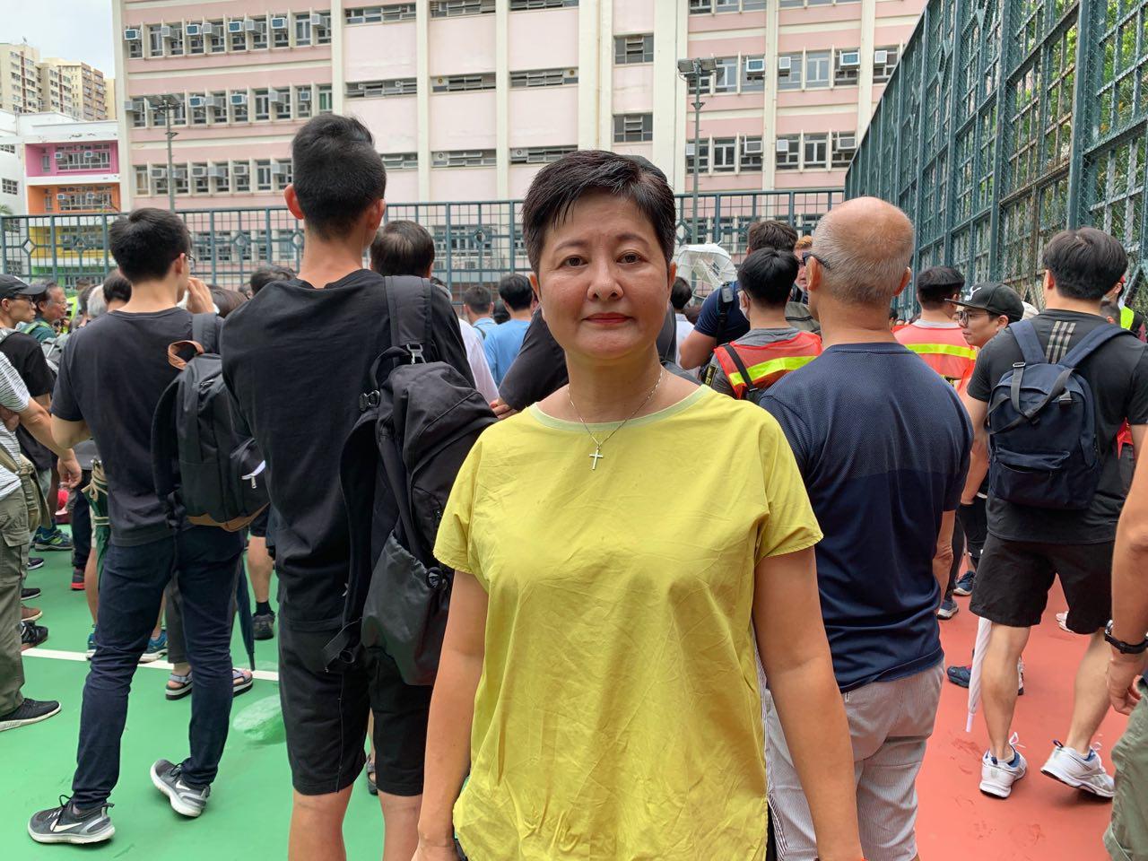 8月3日下午黃碧雲議員出席旺角聲援反送中集會。(駱亞/ 大紀元)