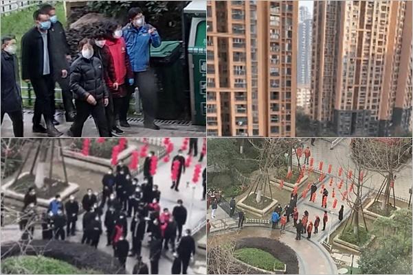 近日,中共國務院副總理孫春蘭視察武漢市青山區中建開元公館,被困在家40多天的業主們憤怒高喊:「全部都是假的。」(知情人提供)