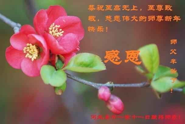 河北阜平一家十一口祝李洪志師父新年快樂。(明慧網)