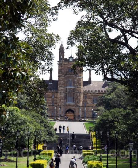 澳洲大學的孔子學院再引關注。圖為掩映在綠樹蔭後的悉尼大學(袁麗/大紀元)