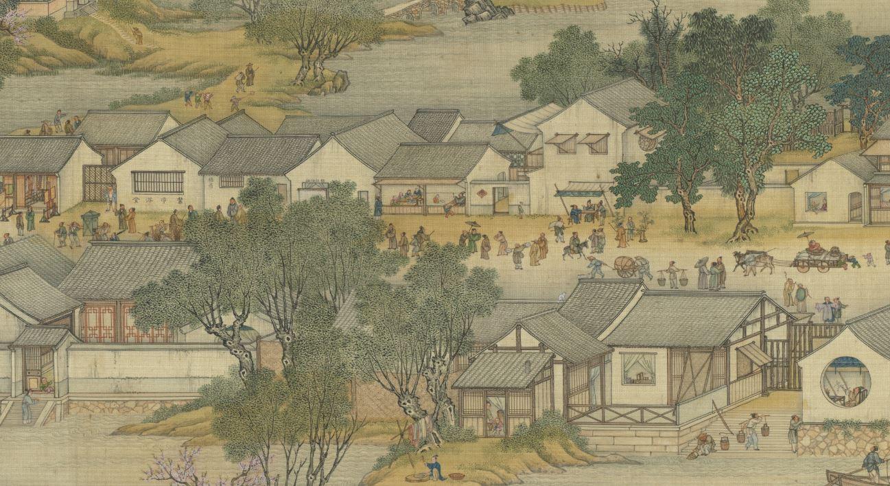 為了解決滿漢紛爭,清皇室思考了很久,決定使滿漢居民分開居住,以保障各族百姓生活安定。圖為清院本《清明上河圖》局部。(公有領域)