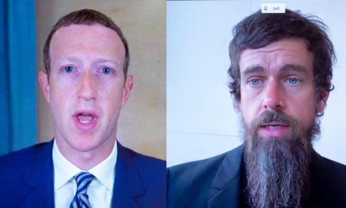 2020年10月28日,面書行政總裁馬克‧朱克伯格(Mark Zuckerberg,左)和推特行政總裁傑克‧多西(Jack Dorsey,右)遠程出席美國國會聽證會。(Michael Reynolds/POL/AFP via Getty Images)