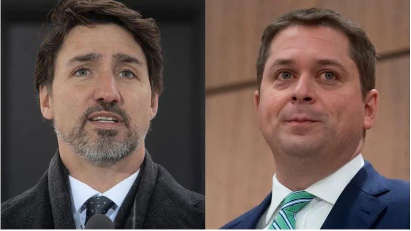 加拿大保守黨領袖熙爾(Andrew Scheer,右)2020年4月15日在召開的新聞發佈會上表示,非常擔憂世衛組織指導的準確性,而總理杜魯多在同日舉行的每日簡報會上迴避了記者提出的有關世衛組織的問題。(加通社)
