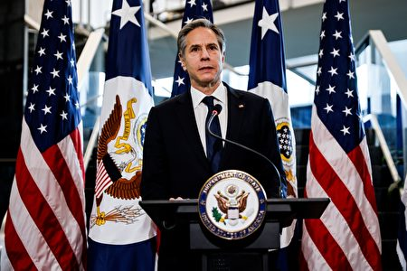 2021年1月27日,美國國務卿安東尼.布林肯(Antony Blinken)在華盛頓特區國務院的歡迎儀式上講話。(CARLOS BARRIA/POOL/AFP via Getty Images)