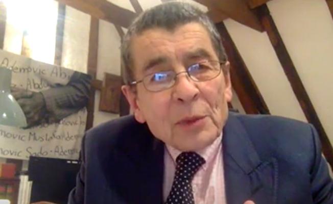 英國御用大律師傑弗里·尼斯爵士(Sir Geoffrey Nice QC)。(會議影片截圖)
