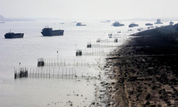 根據外媒報道,中國全國40%以上的工業廢水、農業廢水、家庭污水流入長江,但80%沒有經過排污處理,加上三峽大霸造成的流速減緩,將使長江的涵容能力達到極限,無法自行淨化。環保專家警告,如果再不採取緊急措施處理污染問題,世界第三大河長江將於五年內變成死水。圖為各式貨船和拖船沿長江駛向出海口。(GOH CHAI HIN/AFP/Getty Images)
