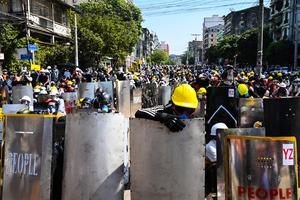 組圖:仰光民眾響應全國大罷工 抗議緬甸軍方