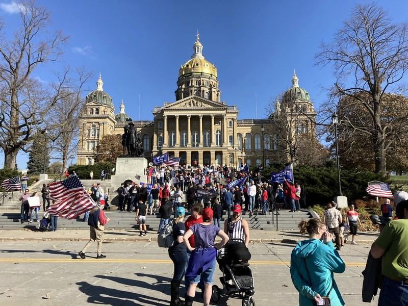 美愛荷華州民眾抗議 要求民主黨「停止偷票」