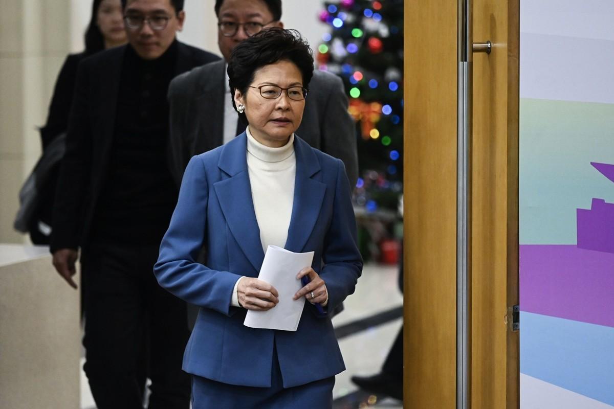 香港特首赴京見習李。圖為2019年12月16日,她召開新聞發佈會。(WANG ZHAO/AFP via Getty Images)