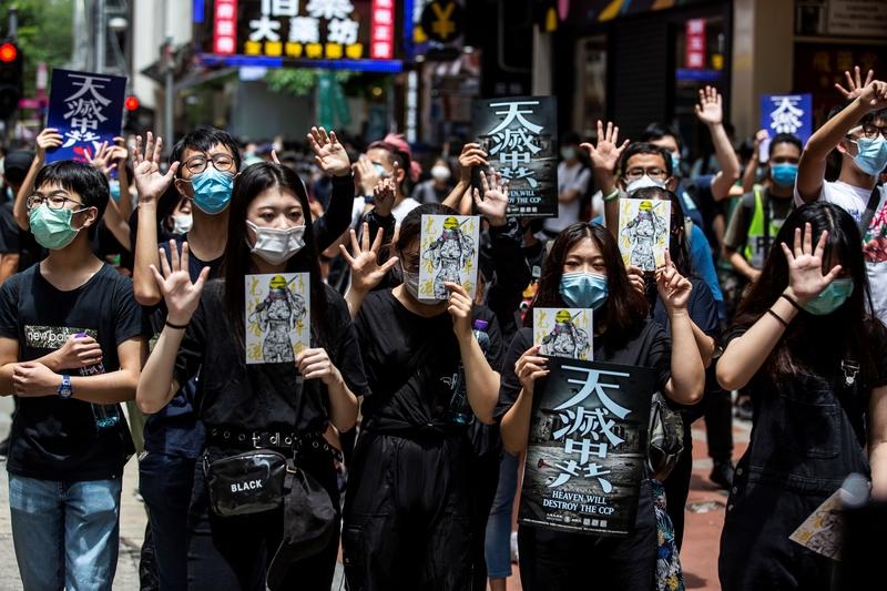 由港民號召的反對「香港版國安法」大遊行,2020年5月24日在港島舉行,估計上萬香港人走上街頭。(ISAAC LAWRENCE/AFP via Getty Images)