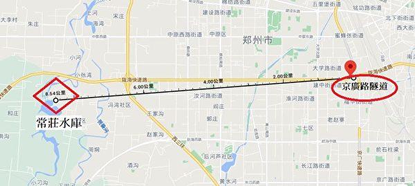 洪災中被淹沒的鄭州京廣路隧道,與常莊水庫之間的直線距離不到10公里。 (大紀元製圖)