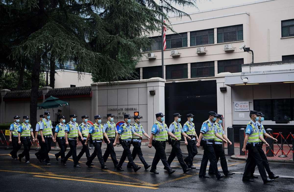2020年7月25日,美國駐成都領事館外戒備森嚴。(Noel Celis/AFP)