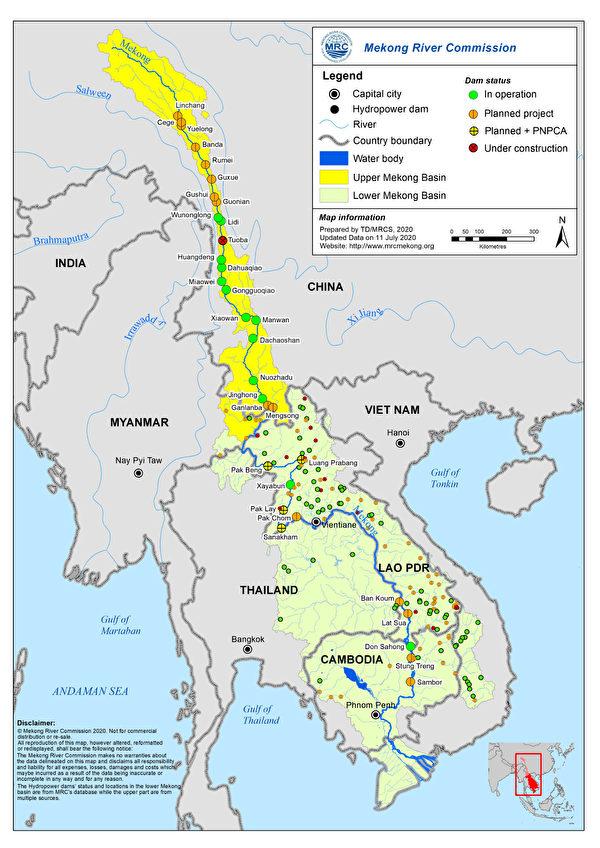 過去10年,湄公河流域水電開發規模不斷擴大。在幹流上,已營運或規劃中的項目就有11個。圖為2020年7月11日更新的水壩建設現況。(湄公河委員會)