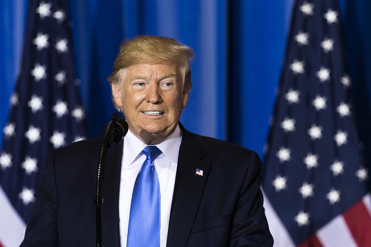 6月29日下午3時40分左右,特朗普總統召開新聞發佈會,對於習特會進行了更詳細的說明,包括中美貿易談判、華為、中國留學生等問題。(Tomohiro Ohsumi/Getty Images)