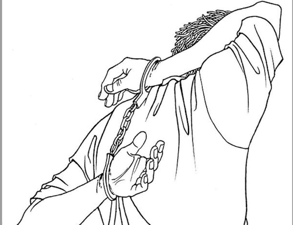 中共酷刑折磨示意圖:背劍。(明慧網)