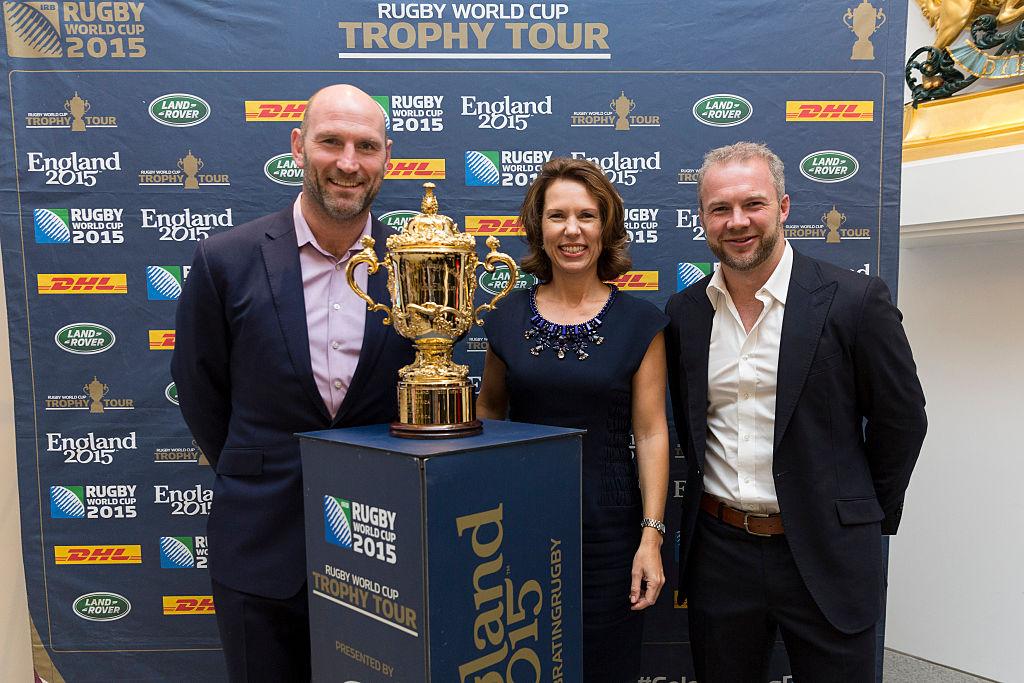 圖為英國駐華大使吳若蘭(Caroline Wilson,中)。(Jerome Favre - Getty Images for England Rugby 2015)