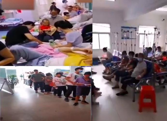 近期,安徽省淮南市壽縣保義鎮數百人出現發燒、嘔吐、瀉肚等症狀,其中多是孩子、老人。(影片截圖合成)