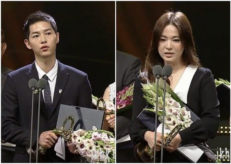 宋仲基、宋慧喬以《太陽的後裔》人氣橫掃亞洲,並在「2016韓國大眾文化藝術獎」獲頒總統表彰殊榮。(影片擷圖/大紀元合成)