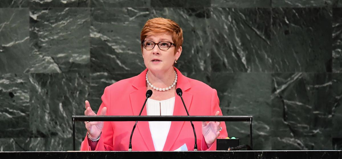 澳洲外長佩恩(Marise Payne)說:「有證據表明,強迫勞動、強迫絕育、系統地且有計劃地虐待和折磨婦女以及一系列其它行為都是嚴重侵犯人權的行為。」(ANGELA WEISS/AFP via Getty Images)