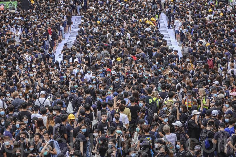9月2日,香港中文大學百萬大道罷課集會活動,抗議港府無視民眾訴求、港警濫權施暴。(余鋼/大紀元)