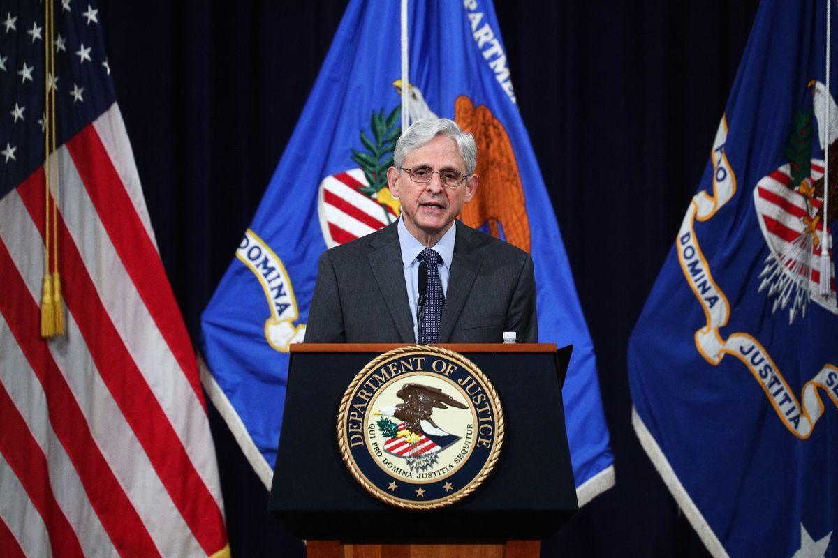 2021年6月11日,美國司法部長加蘭(Merrick Garland)在司法部發表關於投票權的演說。 (TOM BRENNER/POOL/AFP via Getty Images)