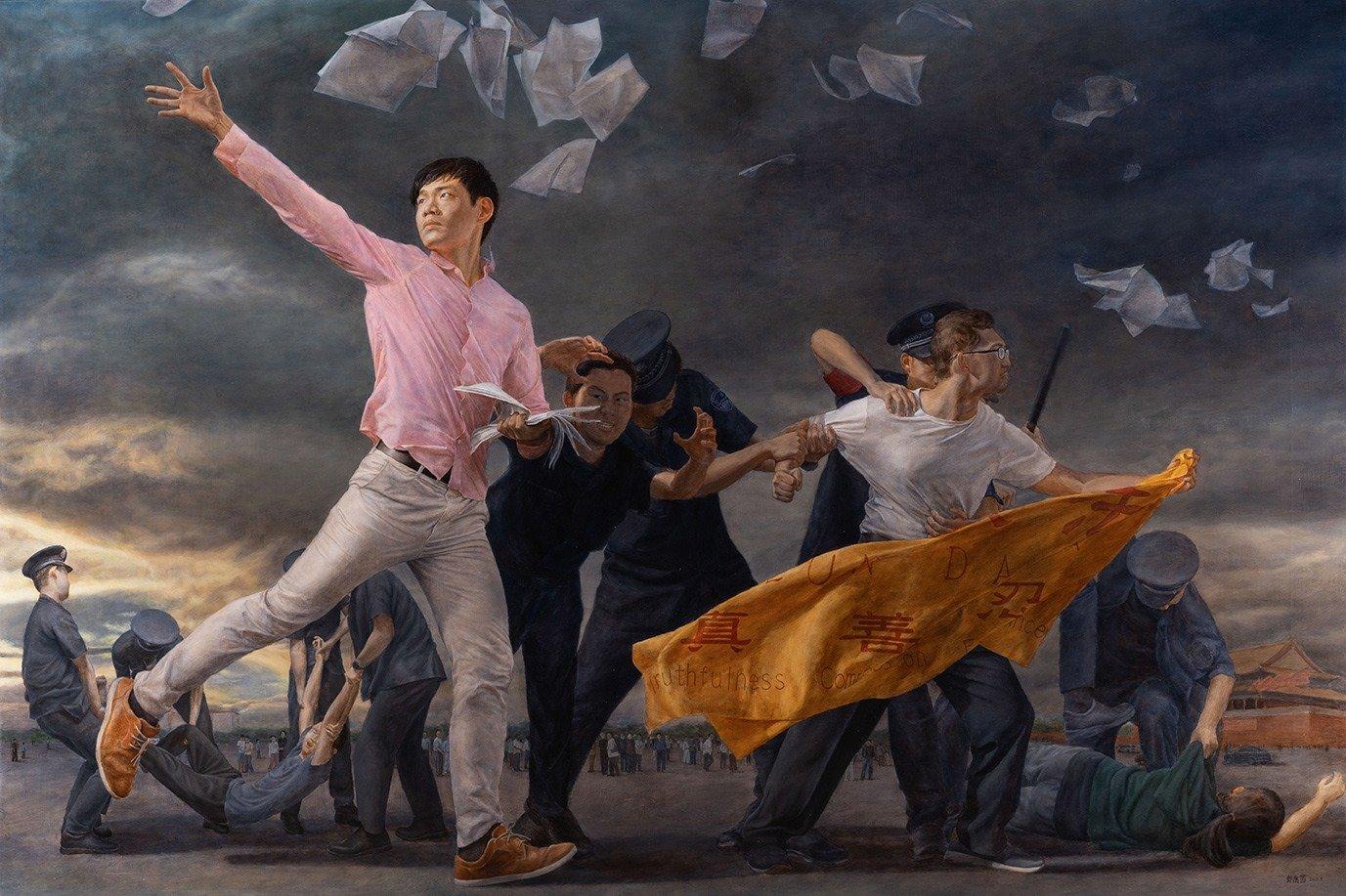 2019新唐人第五屆「全世界人物寫實油畫大賽」入圍決賽作品《真相傳》。(鄭喬茵)