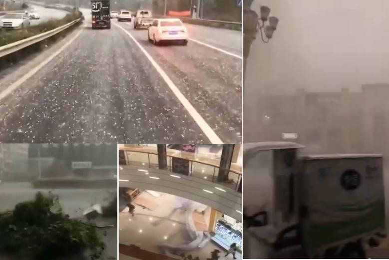 2020年3月21日,浙江省墮地出現狂風暴雨、甚至出現冰雹。(影片截圖合成)