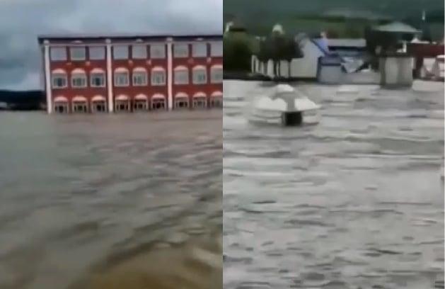 示意圖,圖為近日黑龍江省大興安嶺地區的洪水情況。(影片截圖合成)