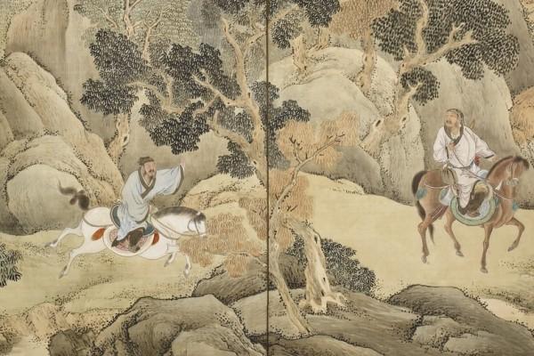 《蕭何追韓信圖》(局部),日本江戶時代畫家與謝蕪村繪,京都野村美術館藏。(公有領域)