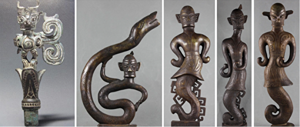 圖二:三星堆出土的青銅人像。左邊第一張圖為人首鳥身青銅像,右邊四張為人首蛇身的青銅人像。(公有領域)