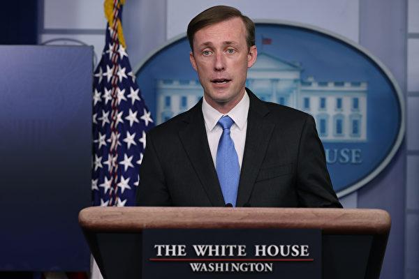 白宮國家安全顧問傑克‧沙利文(Jake Sullivan)表示,美國對世衛的病毒調查報告深表關切。 (Photo by Chip Somodevilla/Getty Images)