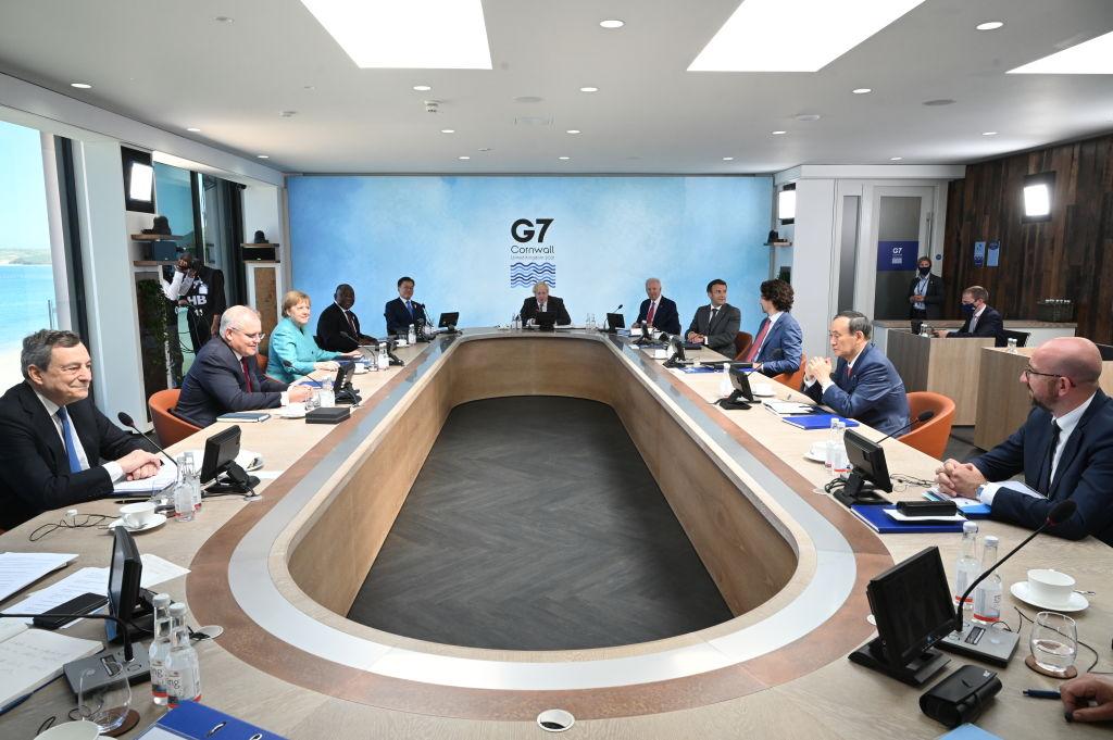 圖為6月12日召開的G7峰會。(Photo by Leon Neal/Getty Images)