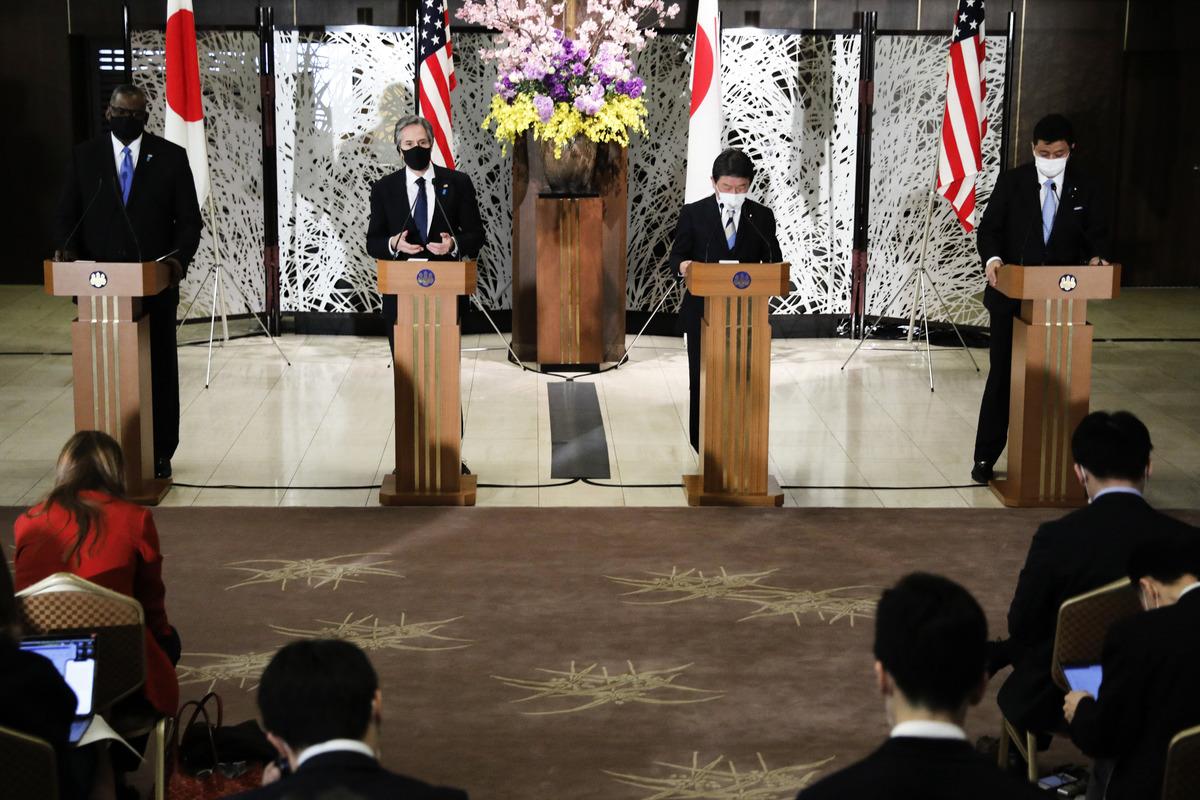 3月16日美日外長和防長舉行聯合新聞發佈會。(Photo by KIM KYUNG-HOON/POOL/AFP via Getty Images)